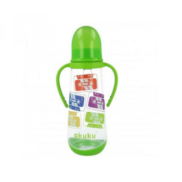Бутылочка с ручками 250 мл. Akuku A0009 green