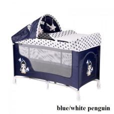Манеж-кроватка Lorelli SAN REMO 2L+ (blue/white penguin)